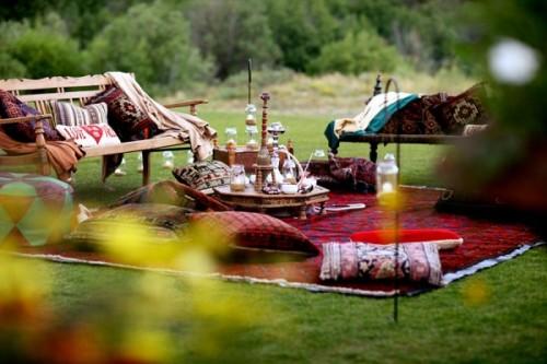 outdoor wedding lounge with a garden bench