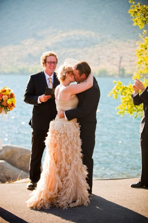 Bride and Groom kiss at Convict Lake