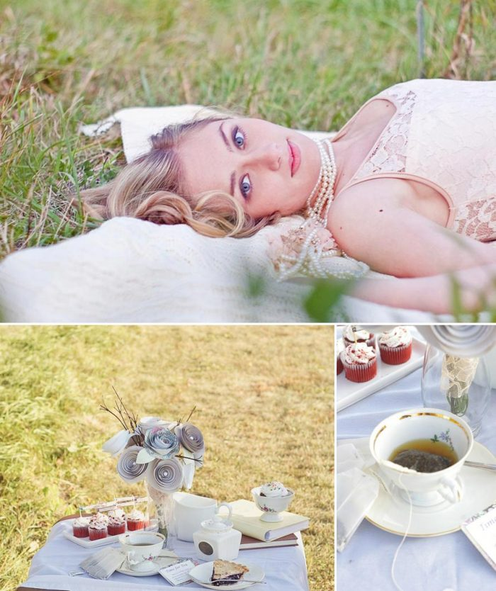 pretty bride and vinatge tea cups