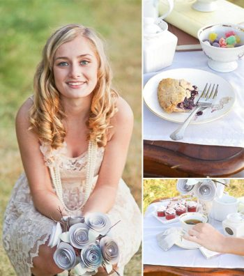 pretty bride with pie and cupcakes