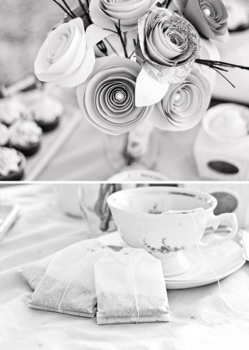 black and white tea cup and paper flower centerpiece