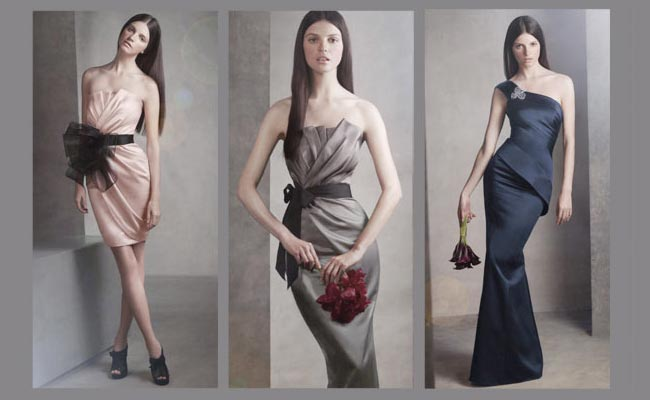 Blush, charcoal, and navy bridesmaid dresses