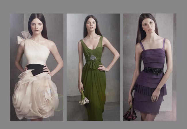 green purple and blush bridesmaids dresses from Vera Wang