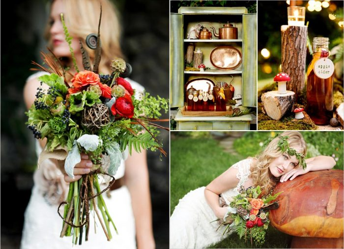 colorful rustic woodland wedding ideas