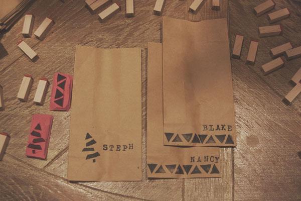 DIY brown paper favor bags