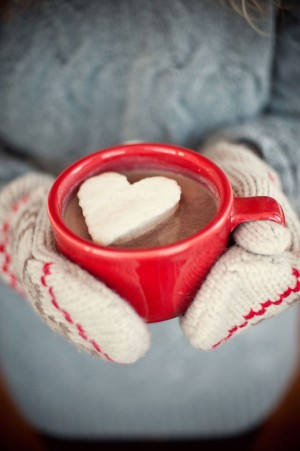 homemade heart-shaped marshmallow in a red mug