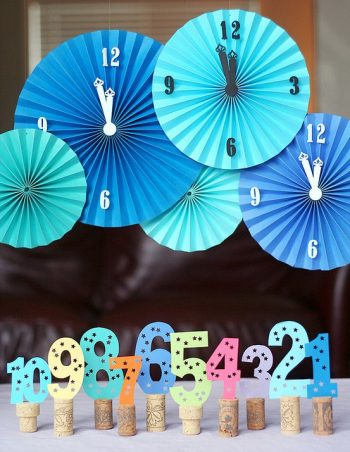New Years Countdown with paper clocks and cut out numbers