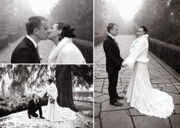 black and white bridal shoot at a European estate