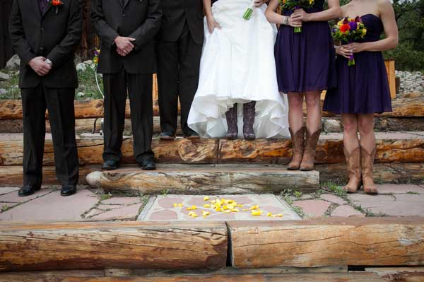 bridal party in cowboy boots