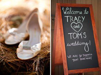 DIY chalkboard + satin wedding shoes