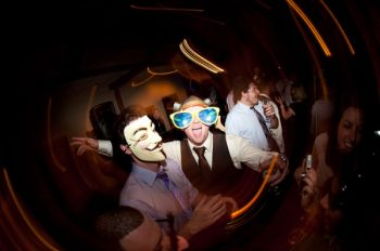 wedding guests in photobooth masks