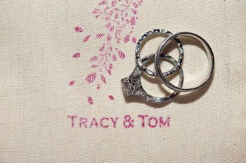 wedding rings and favor bags