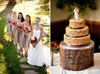 rustic wedding cake on a custom wooden stand