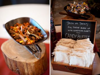 potpourri centerpieces and candy buffet