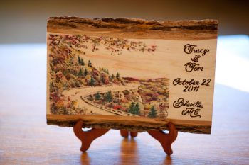 wooden historic postcard table numbers