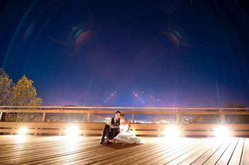 wedding couple on a balcony