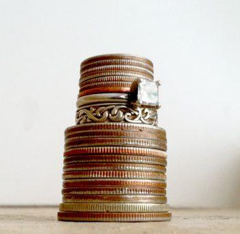 wedding cake made of money