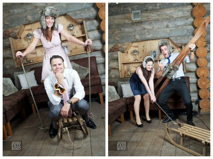 vintage ski props for a ski wedding in the Alps