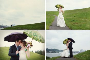 rainy day bridal portraits on a hill near the sea