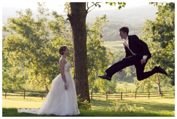 groom leaping