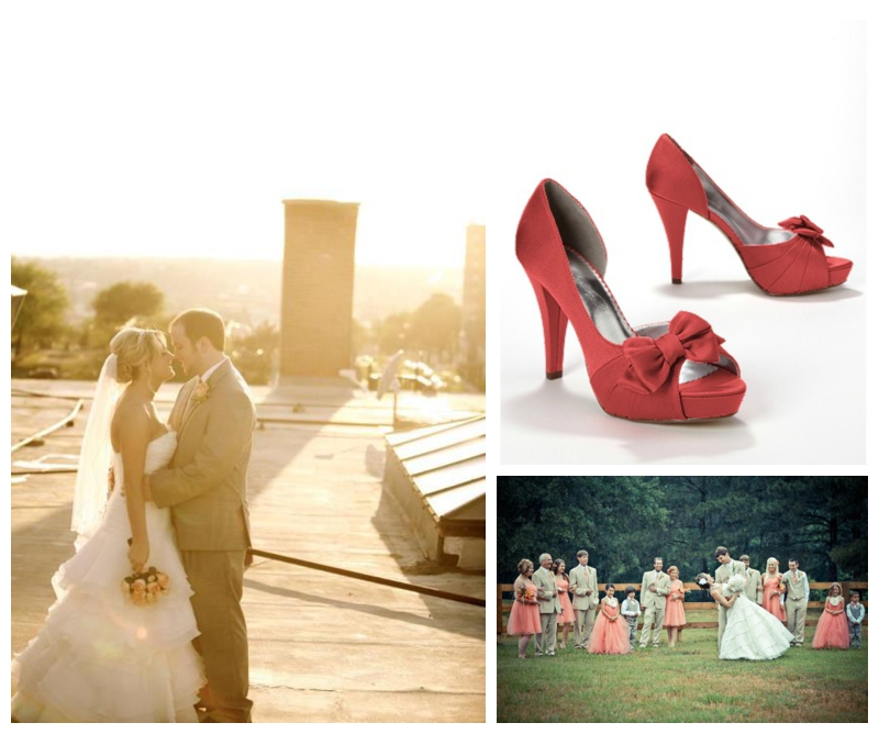 Neutral rustic wedding with orange accents from Davids Bridal