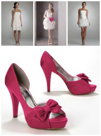 Hot pink shoes and details from Davids Bridal