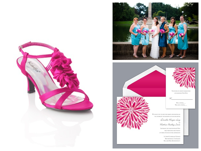 Hot pink and blue wedding from davids bridal