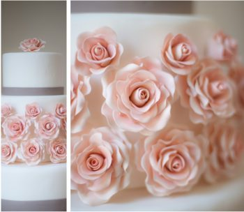 Pretty wedding cakes with modern gray ribbon and romantic fondant roses