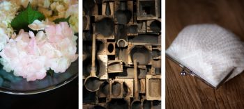 Vermont wedding details- Hydrangea, rustic barn hardware, and romantic purse