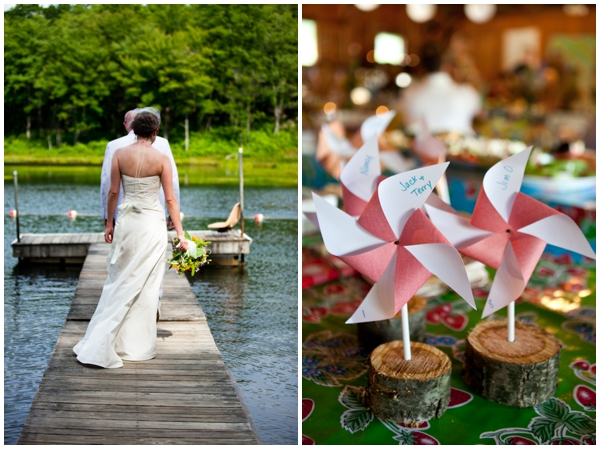 bride on a dock with pinwheels