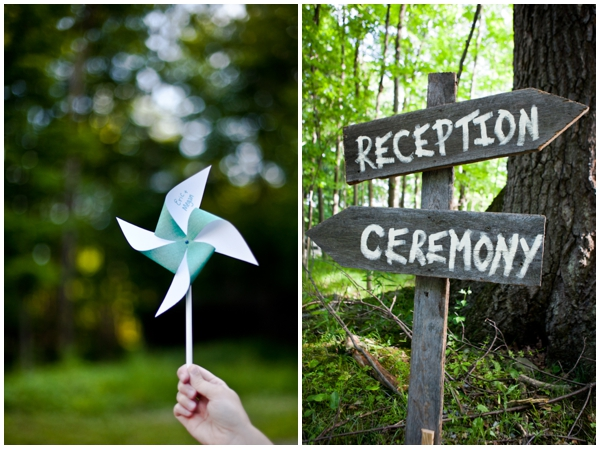rustic details DIY pinwheel and wooden signs