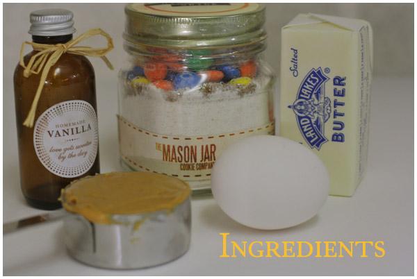 Mason Jar cookie ingredients