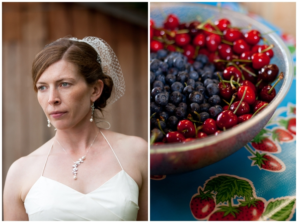 bridal prtrait with bowl of berries