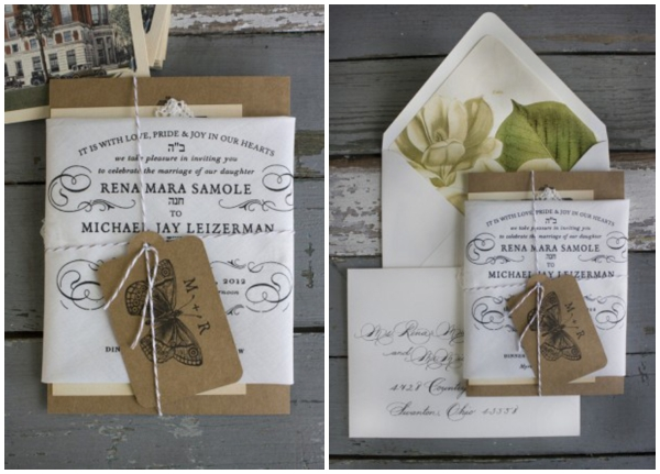 handkerchief and kraft paper invitation