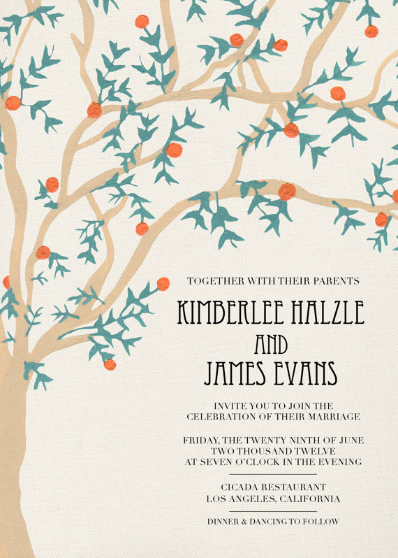 hand painted tree inspired invitation