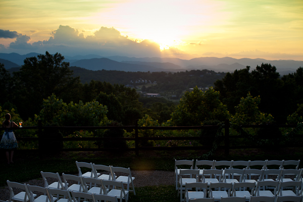 sunset over the ceremony site in the blue ridge mountains