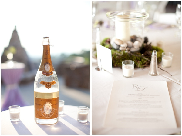 Cristal champagne and a rustic table setting