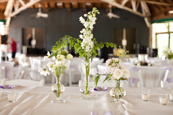 white and green single bloom centerpieces