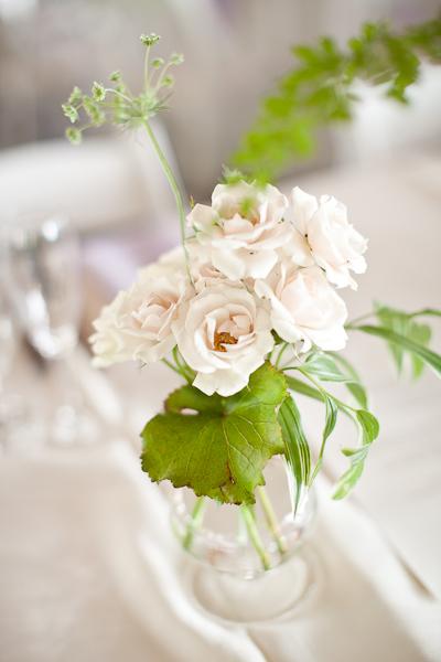 white garden rose centerpiece