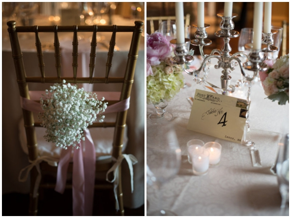 Pretty pink and white wedding details
