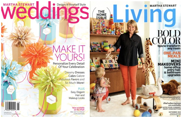 Martha Steward Weddings and Living Magazine Cover Summer 2012
