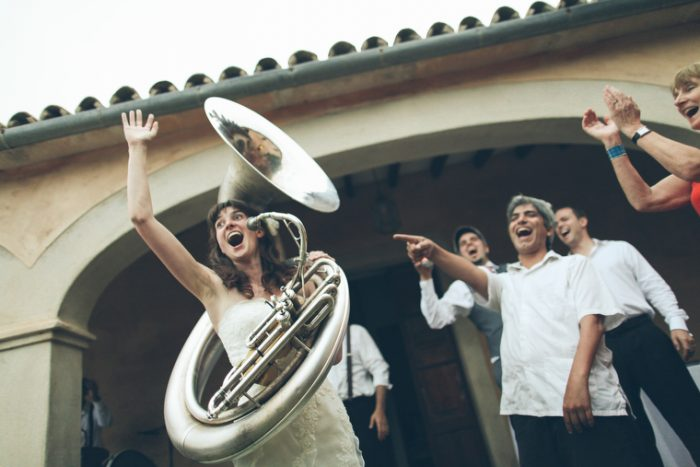 bride plays the tuba