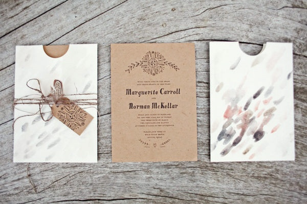 rustic artful wedding invitations