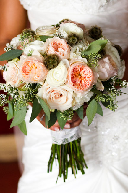 peach and ivory rustic bouquet--IN Photography--Beaver Creek Wedding