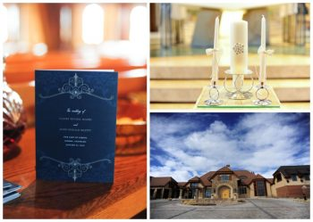 navy wedding invitations and white candles