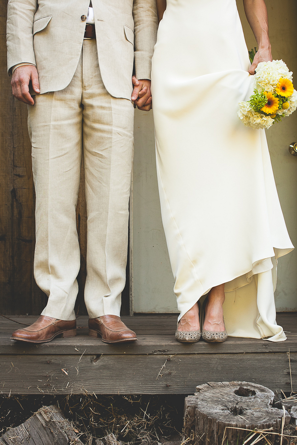mountain ranch bride and groom shoes