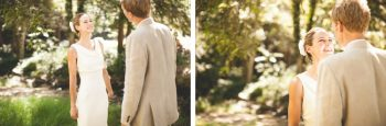 mountain ranch bride and groom first embrace
