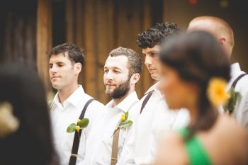 mountain ranch wedding party at ceremony