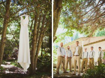 mountain ranch wedding dress and groomsmen