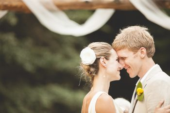 mountain ranch wedding almost first kiss